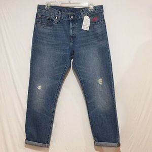Levi's 501 Button Fly Cropped Embroidered Jeans